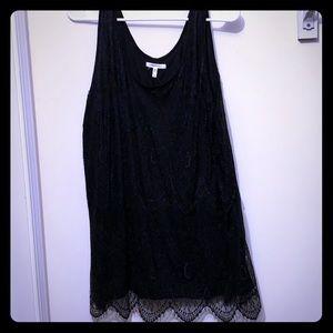 Women's black lace tank top